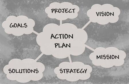 plan de accion: Diagrama de plan de acci�n sobre fondo gris