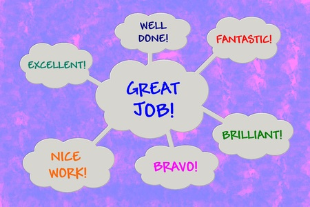 great success: Appreciation messages in speech balloons over violet background
