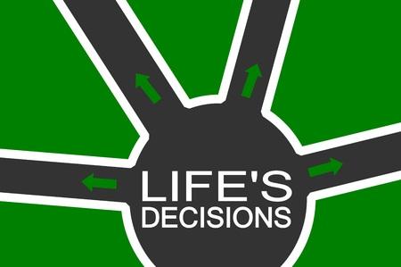 union familiar: Las decisiones de la vida con el texto sobre fondo verde Foto de archivo