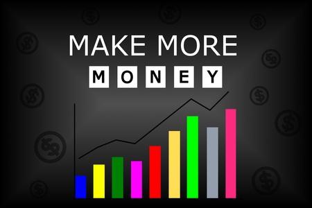 黒い背景にカラフルなグラフとテキストがお金を作る 写真素材