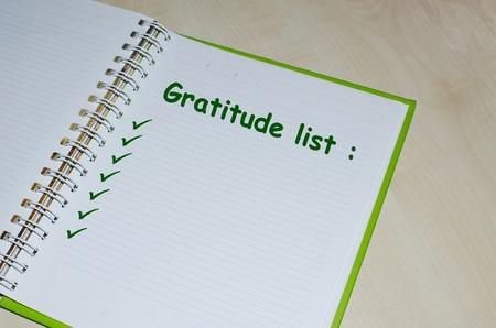 Gratitude list on open agenda over wooden background