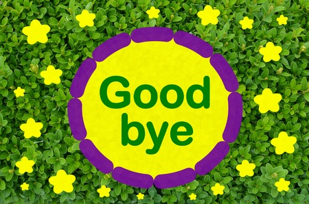 good bye: Good bye message over green leaf background Stock Photo