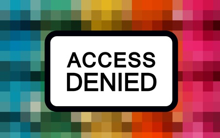 access denied: Access denied warning over mosaic abstract background Stock Photo