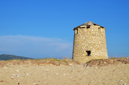 broken hill: Abandoned old windmill on the beach