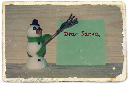 photo paper: Old photo paper with letter for Santa