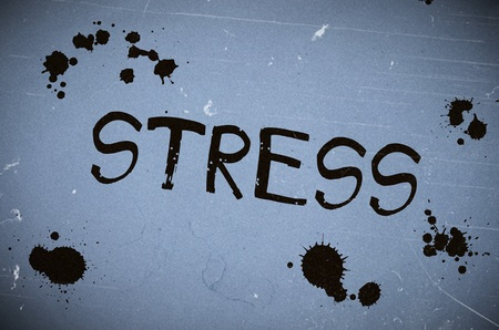 obligations: Stress word written over blue old paper