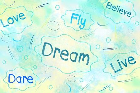 osare: Sogno, l'amore, credo, osare concetto pensiero positivo su sfondo blu Archivio Fotografico