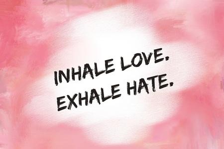 息を吸い込む愛ピンク塗られた背景の上メッセージを嫌い 写真素材