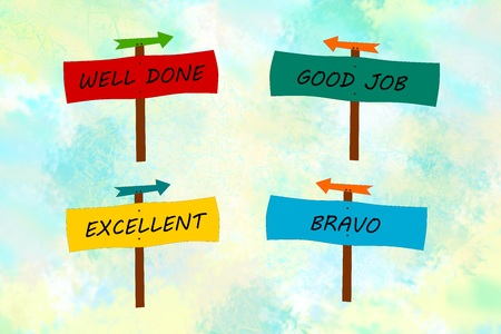 well done: Appreciation messages in colorful indicator signs for kids