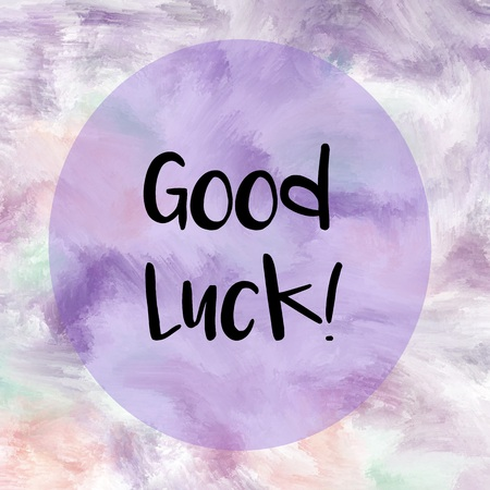 good cheer: Good luck message written over purple painted background Stock Photo