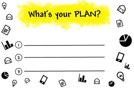 the list plan: What is your plan written on blank list Stock Photo