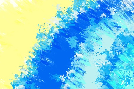 Abstract painted background with blue waves and sandy beach Stock Photo