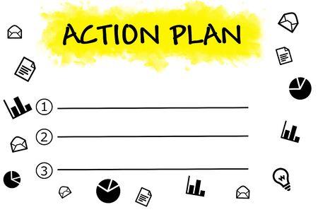 the list plan: Action plan written on blank list Stock Photo