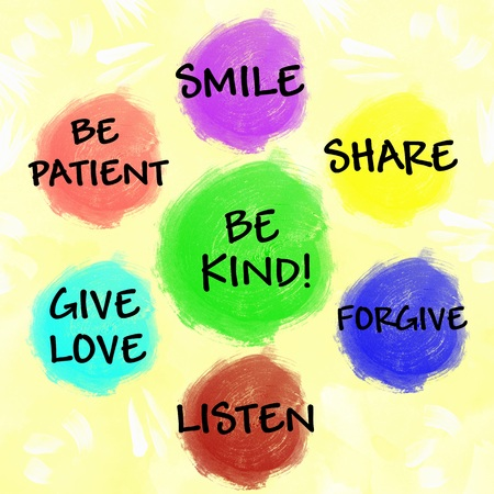 advice: Be kind chart for children watercolor painted Stock Photo