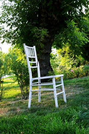 broken chair: White broken chair in the backyard