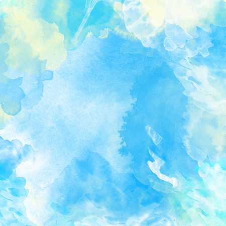 Watercolor painted background in light blue and white
