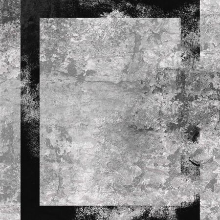 deteriorated: Grey vintage background with black frame Stock Photo