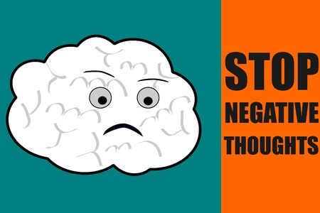 counsel: Stop negative thoughts suggestion with a sad brain character Stock Photo