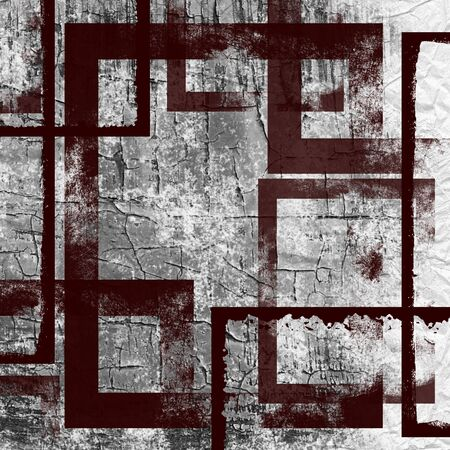 deteriorated: Grunge background with geometric pattern over damaged wall
