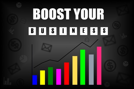 boost: Boost your business message with colorful chart on black background