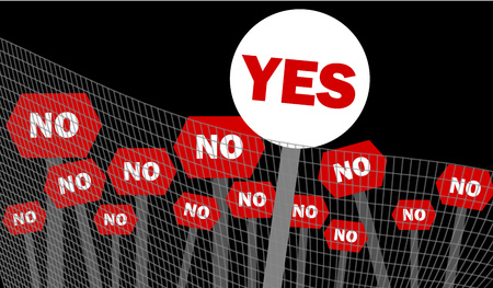 political prisoner: Yes and no decision symbol written on placard over black background