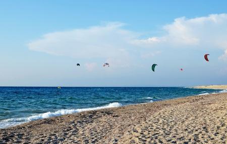 kite surfing: Kite surfing on the sea  coast in Lefkada Island, Greece