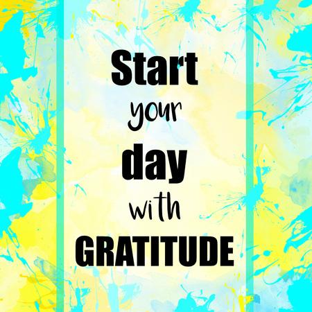 Comience el día con el mensaje de gratitud sobre fondo pintado en colores pastel Foto de archivo - 50606412