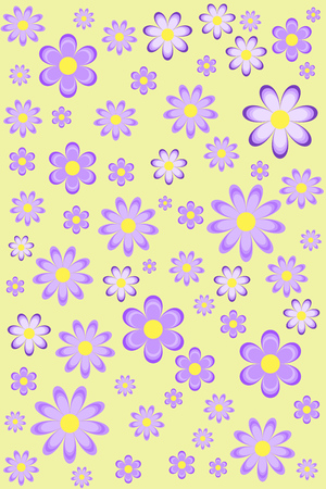 multitude: Purple flowers pattern illustration on light yellow background Stock Photo