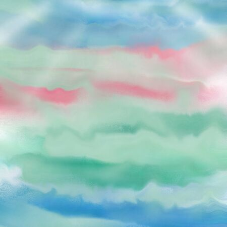 Pastel painted background with blue, green and pink waves Фото со стока