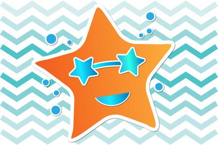 starfish: Orange starfish with blue sunglasses illustration summer background Stock Photo