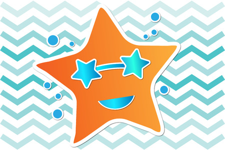 stella marina: stella di colore arancione con gli occhiali da sole blu estate illustrazione sfondo