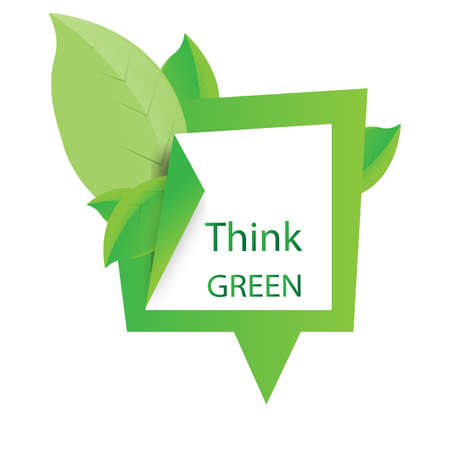 think green: Think green design illustration with green leaves and empty space for text