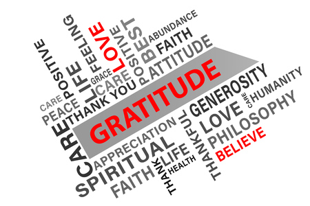 gratitude: Gratitude word cloud concept vector illustration background Stock Photo
