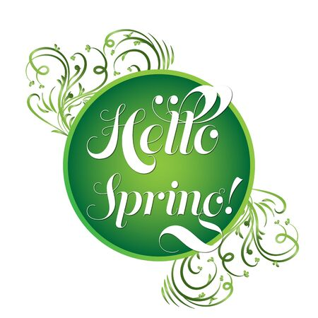 revive: Green circle with text Hello spring and floral elements