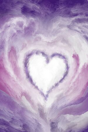 Purple color heart abstract digital painted background