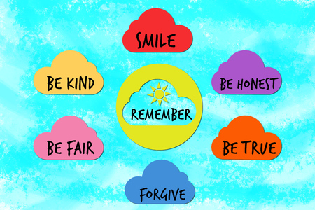 gentleness: Remember to be good chart for children with clouds and sun Stock Photo