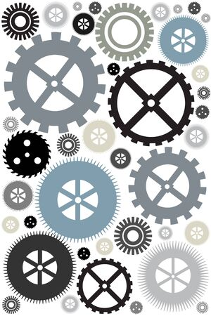 nuances: Different gear wheels background concept of motion illustration Stock Photo