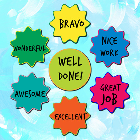 well: Well done appreciation messages for children on blue painted background Stock Photo