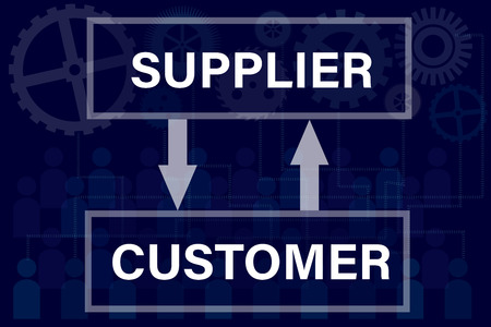 supplier: Procurement concept with supplier and customer text on blue background