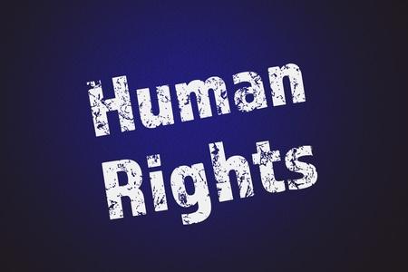 derechos humanos: el texto de los derechos humanos por escrito sobre fondo azul