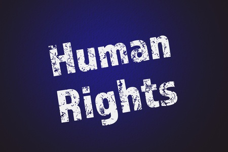 free vote: Human rights text written on blue background