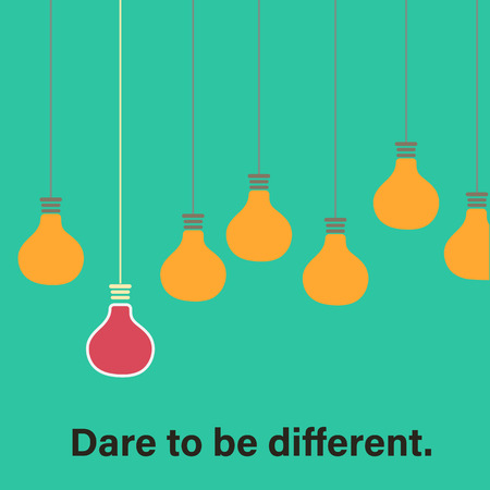 dare: Dare to be different concept with retro colored hanging bulbs Stock Photo