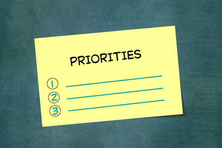 Priorities list on yellow piece of sticky note