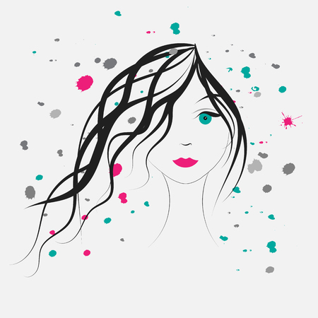 young girl: Young pretty girl portrait and watercolor splash