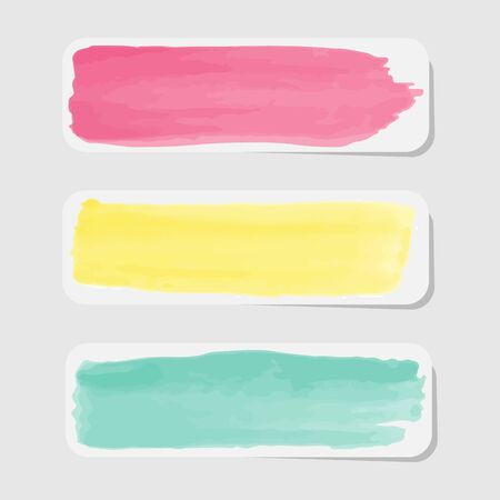 empty space for text: Three pastel painted labels with empty space for text Stock Photo