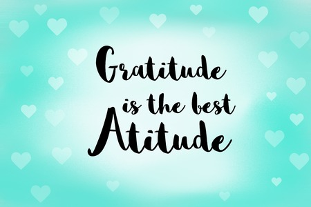 gentleness: Gratitude is the best attitude message on blue background and white hearts Stock Photo