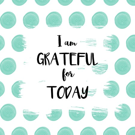 declaration: I am grateful for today declaration on blue dots painted background Stock Photo