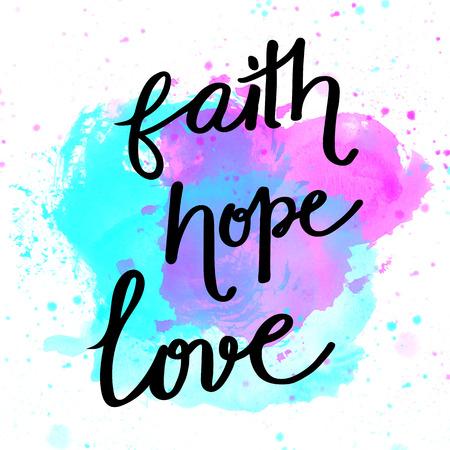 信仰、希望、愛水彩背景にレタリング 写真素材