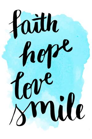 信仰、希望、愛、笑顔手水彩背景にレタリング  イラスト・ベクター素材