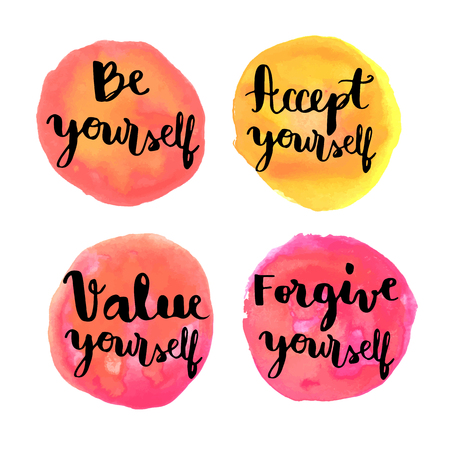 be yourself: Be yourself hand lettering motivational messages on watercolor painted circles
